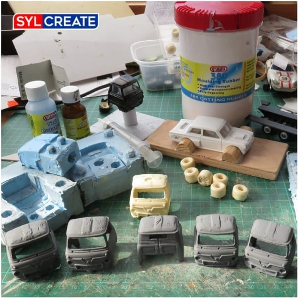 A set of Ford trucks made using a Sylmasta Resin Mould Casting Kit