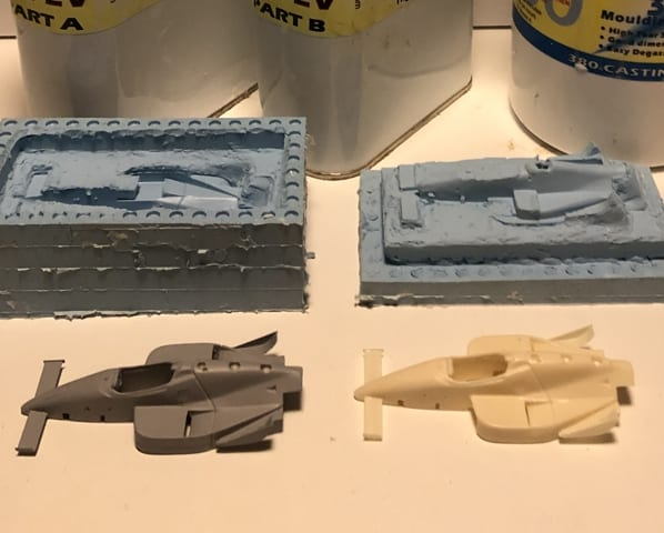 Indy Car copies cast in resin using a Sylmasta Casting Kit