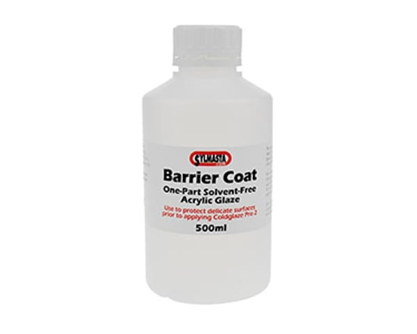 Coldglaze Barrier Coat is used to coat other glazes prior to over-coating with Coldglaze PRO 2 Clear Gloss
