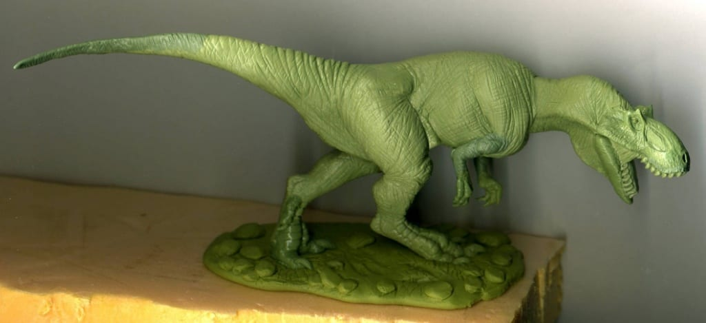 A large scale dinosaur sculpted with a combination of Green Stuff and Geomfix Original A+B