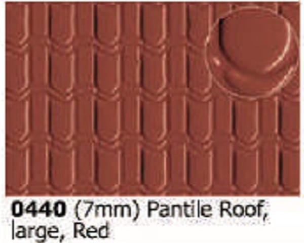 Slater's Plastikard 0440 is plasticard featuring Pnatile Roof Red pattern for 7mm scale