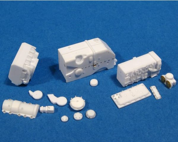 Parts of a Tiger II tank transmission scratch-built using Magic Sculp Modelling Putty