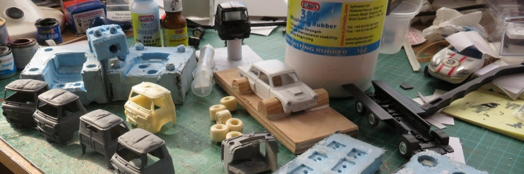 Resin cast Ford pickup tricks made using casting resin and reusable silicone moulds from the Sylmasta Casting Kit